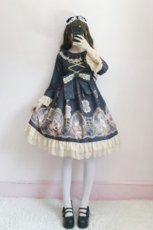Elegant Long Sleeves Mermaid Printing Sweet Lolita OP Dress