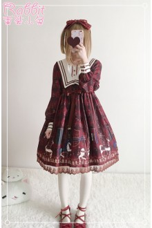 Royal Trojan Horse Printing Sweet Lolita OP Dress