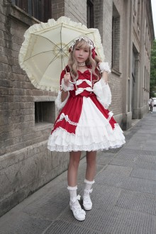 Red Neverland Barrer's Dancing Party Sweet Lolita OP Dress
