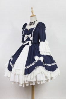 Dark Blue Neverland Barrer's Dancing Party Sweet Lolita OP Dress