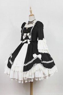 White & Black Neverland Barrer's Dancing Party Sweet Lolita OP Dress