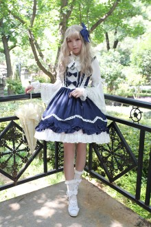 Dark Blue Neverland Barrer's Dancing Party Sweet Lolita JSK Dress