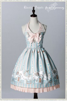 Grass Green Classical Puppets Go to Travel Sweet Lolita JSK Dress