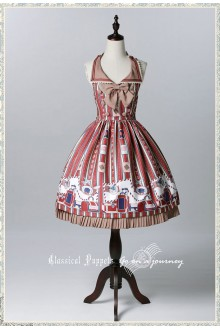 Wine Classical Puppets Go to Travel Sweet Lolita JSK Dress