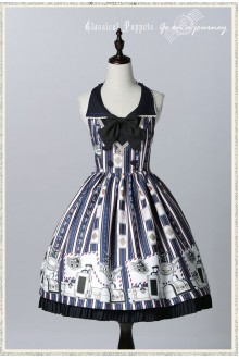 Dark Blue Classical Puppets Go to Travel Sweet Lolita JSK Dress