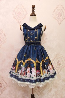 Dark Blue Alice Girl Poodle Gift Box Lapel Lace Bowknot Sweet Lolita JSK Dress