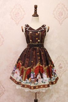 Coffee Alice Girl Poodle Gift Box Lapel Lace Bowknot Sweet Lolita JSK Dress