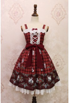 Wine Alice Girl Strawberry Rabbit Bowknot Flouncing Sweet Lolita JSK Dress