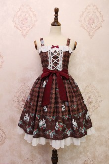 Coffee Alice Girl Strawberry Rabbit Bowknot Flouncing Sweet Lolita JSK Dress