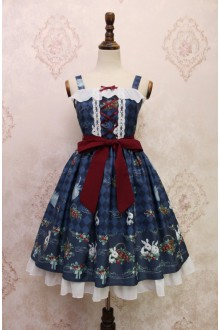 Dark Blue Alice Girl Strawberry Rabbit Bowknot Flouncing Sweet Lolita JSK Dress