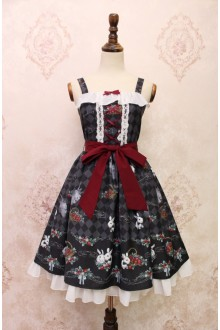 Black Alice Girl Strawberry Rabbit Bowknot Flouncing Sweet Lolita JSK Dress