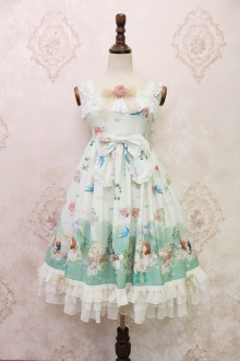 Light Green Alice Girl The Garden Diaries of Squirrels Bowknot Lace Flouncing Sweet Lolita JSK Dress
