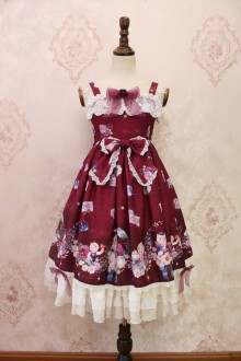 Wine Alice Girl The Garden Diaries of Squirrels Bowknot Lace Flouncing Sweet Lolita JSK Dress