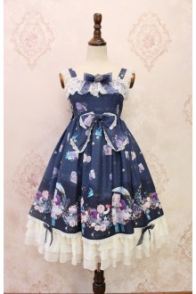 Dark Blue Alice Girl The Garden Diaries of Squirrels Bowknot Lace Flouncing Sweet Lolita JSK Dress