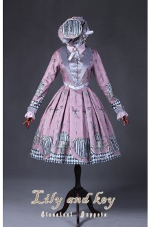 Classical Puppets Lily And Key V Collar Long Sleeves Fake Two Pieces Sweet Lolita OP Dress