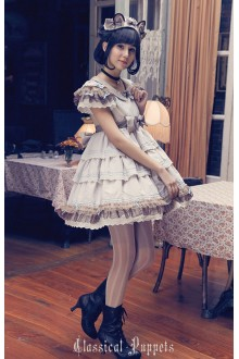 Light Brown Classical Puppets Siamese Cat High Waist Round Collar Sweet Lolita Short Dress