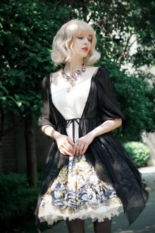 Neo Ludwig Original Printing Vintage V Collar Half Sleeves Fake Two Pieces Classic Lolita Dress