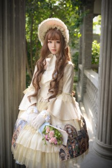 Neo Ludwig Borgia Color Windows Golden Church Sweet Lolita OP Dress