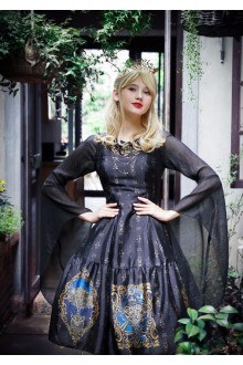 Neo Ludwig Vintage Short Sleeves Trumpet Sleeves Slim Classic Lolita Dress