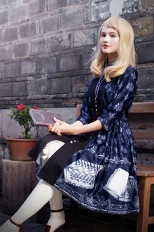 Dark Blue Neo Ludwig Vintage Three-quarter Sleeves Lapel Stitching Suits Classic Lolita Dress