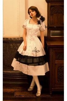 Neo Ludwig Vintage Dark Jacquard Short Sleeves Classic Lolita Dress