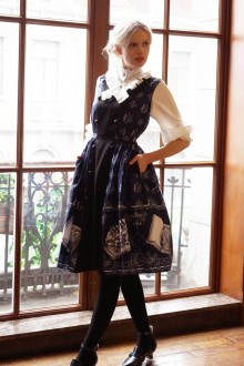 Dark Blue Neo Ludwig Vintage V Collar Sleeveless Slim Classic Lolita Jumper Dress