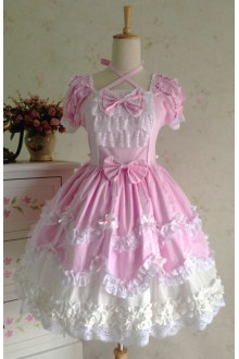 Pink Sweet Cotten Vintage Lace Party Prom Short Sleeve Lolita Dress