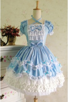 Sky Blue Sweet Cotton Vintage Lace Party Prom Short Sleeve Lolita Dress