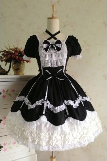 Black & White Sweet Cotton Vintage Lace Party Prom Short Sleeve Lolita Dress