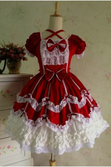 Wine & White Sweet Cotton Vintage Lace Party Prom Short Sleeve Lolita Dress