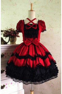 Wine & Black Sweet Cotton Vintage Lace Party Prom Short Sleeve Lolita Dress