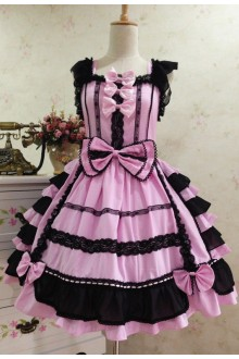 Pink Sweet Cotton Vintage Lace Party Prom Sleeveless Lolita Dress