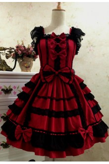 Wine & Black Sweet Cotton Vintage Lace Party Prom Sleeveless Lolita Dress