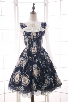 Sweet Shell Printing Bow Knot Lace Sleeveless Lolita Dress