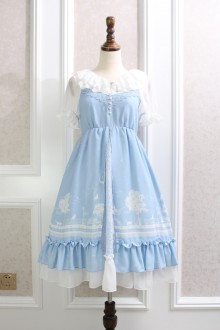 Sky Blue Night Star Moon Cat Printing Lace Chiffon Flouncing Sweet Lolita Suspender Dress