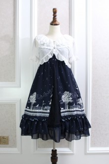 Dark Blue Night Star Moon Cat Printing Lace Chiffon Flouncing Sweet Lolita Suspender Dress