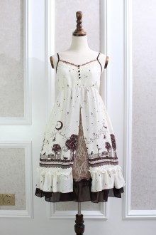Beige Night Star Moon Cat Printing Lace Chiffon Flouncing Sweet Lolita Suspender Dress