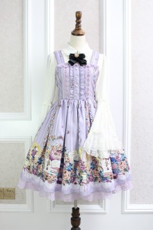 Purple Afternoon Tea Rabbit Printing Bow Knot Flouncing Lace Sweet Lolita Dress