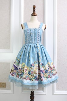 Blue Afternoon Tea Rabbit Printing Bow Knot Flouncing Lace Sweet Lolita Dress