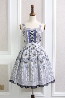 Blue Temperament Ladies Rose Stripes Printing Chiffon Lace Flouncing Sweet Lolita Dress