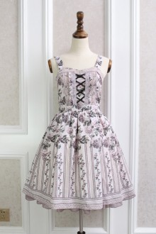 Pink Temperament Ladies Rose Stripes Printing Chiffon Lace Flouncing Sweet Lolita Dress