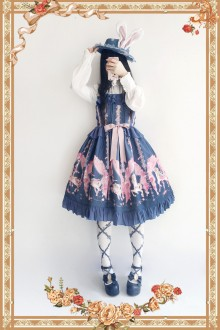 Dark Blue Infanta Flower Merry-go-round Sweet Lolita JSK Dress