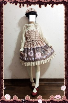 Light Color Infanta Doughnut Printing Sweet Lolita Strap Dress