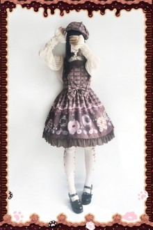 Dark Color Infanta Doughnut Printing Sweet Lolita Strap Dress
