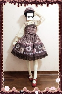 Dark Color Infanta Doughnut Printing Sweet Lolita JSK Dress