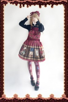 Wine Infanta Magic Dictionary Sweet Lolita Strap Dress