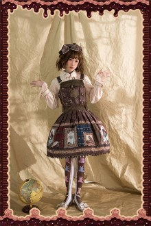 Khaki Infanta Magic Dictionary Sweet Lolita Strap Dress