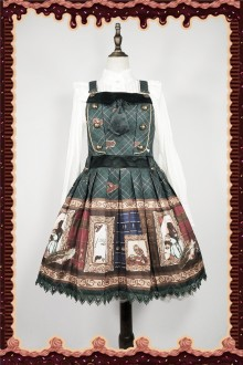 Dark Green Infanta Magic Dictionary Sweet Lolita Strap Dress