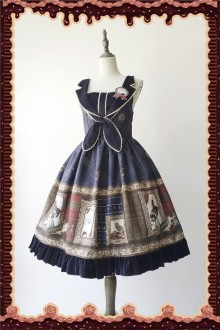 Dark Blue Infanta Magic Dictionary Sweet Lolita JSK Dress