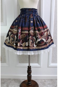 Blue Sweet Teddy Bear Printing Lace Flouncing Lolita Skirt